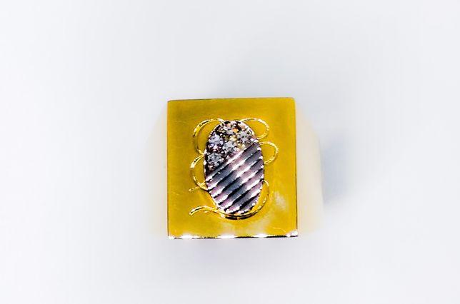 Ghiul unisex din aur de 14k cu aur alb si diamante