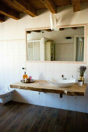 Blat polita suspendat pentru baie din lemn de stejar
