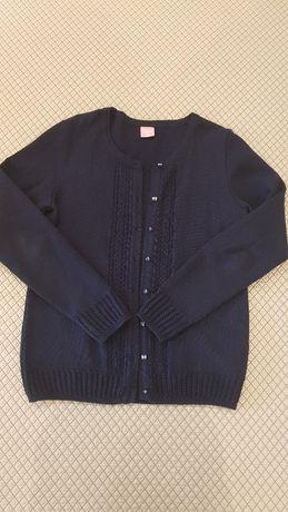 Кофта школьная темно-синяя (блузка новая в подарок)