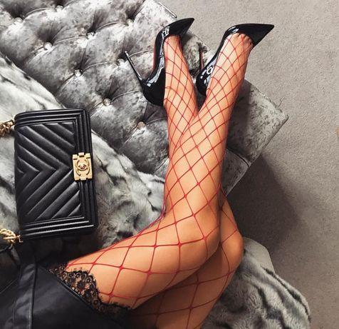 Dres dama plasa rosu alb negru sexy ciorapi stockings fishnet oferta