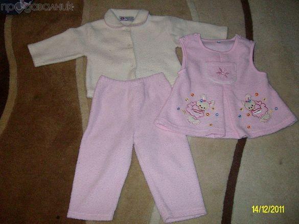 Плътни комплекти за момиче и блузка - ръст 86
