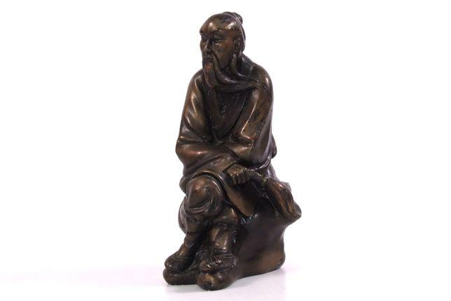 Statueta asiatica, bibelou, ceramica auriu patinata, stare perfecta