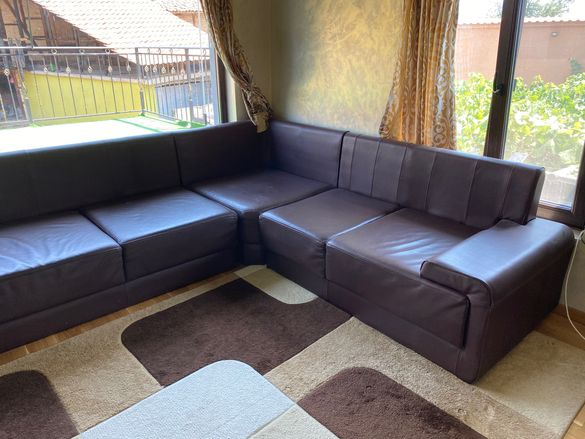 ъглов диван кожен