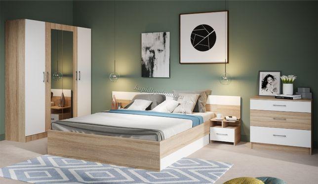 Спальня Алена с 4-х дверным шкафом (Дуб сонома/Белый)