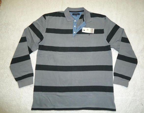 Bluza barbati maneca lunga gri dungi 3XL 4XL guler polo pulover