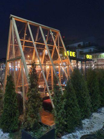Casute din lemn modulare transparente pentru HORECA