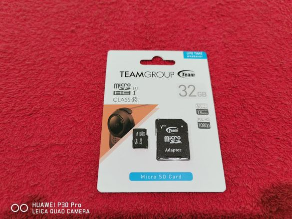 Карта памет micro sd 32 GB + адаптер TeamGroup клас 10 up to 80MB/s