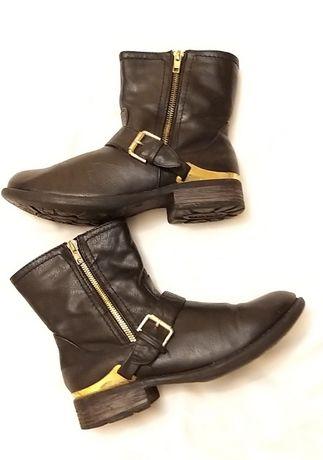 Rieker - botine negre piele naturala cu accesoriu auriu