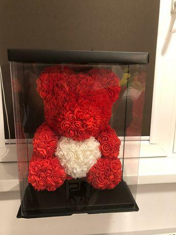 Urs rosu cu inima alba 40 cm 150 lei
