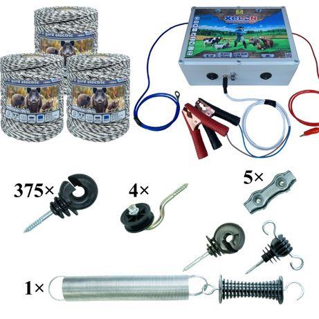 Pachet gard electric 3000M fir, izolatori, aparat gard electric 6.8J