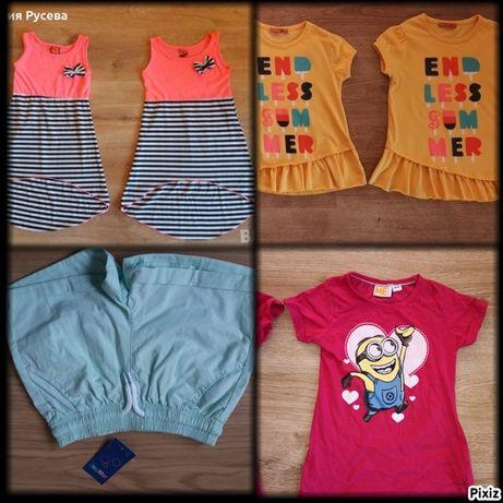 летни дрехи-рокли,тениска,къси панталони,потник- 5-6 г