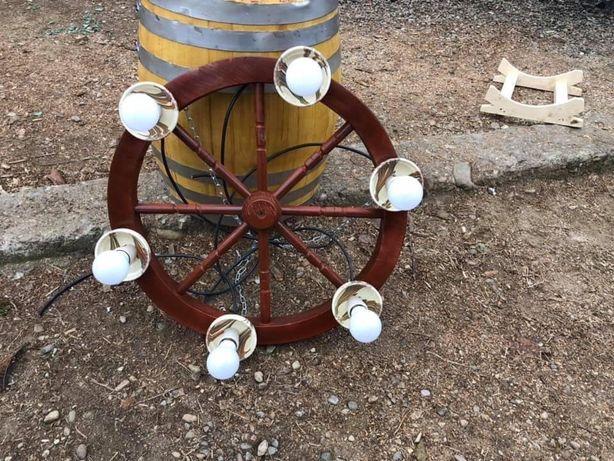 Corp iluminat , aplica , lustra din lemn , candelabru rustic