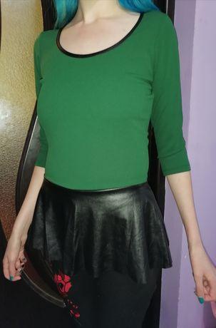 Bluză cu peplum, nuanța verde - negru, M, pentru copii 11-16 ani