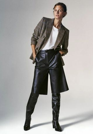 Pantaloni bermude Massimo Dutti, din piele
