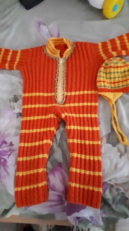 Salopeta crosetatasi caciulita,  bebe 9-12l, marime 74