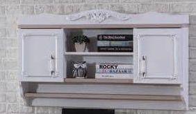 Чисто НОВ Weltew стеннен рафт за книги с чекмеджета бял луксозен стена