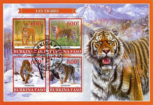 Super timbre colita Burkina Faso, tematica fauna, animale, TIGRUL