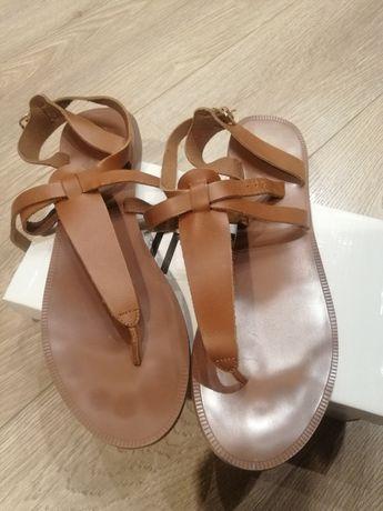 Дамски сандали от естествена кожа H&M кафеви