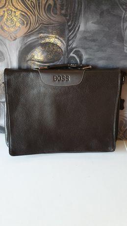 Мъжка бизнес чанта Hugo Boss от естествена телешко кожа