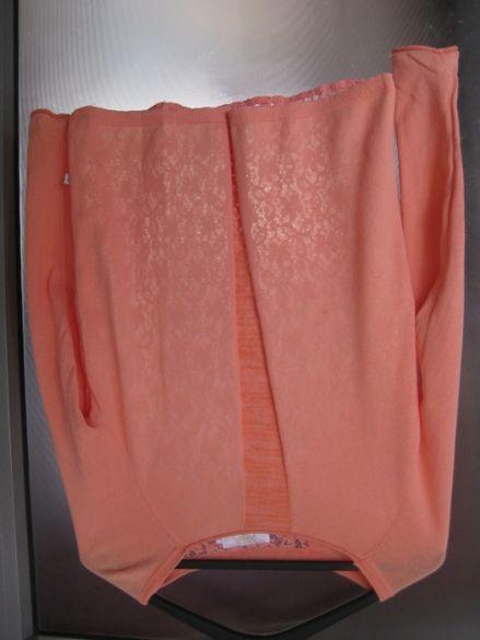 Стилна оранжева блуза с дълъг ръкав и дантелен гръб