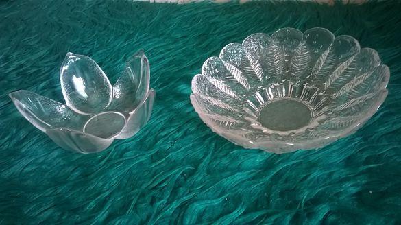 фруктиера-бонбониера стъклена антикварна уникална