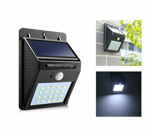 Lampa cu incarcare solara 20 LED-uri,panou senzor de miscare