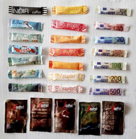 Колекция 70 бр. пакетчета захар, различни