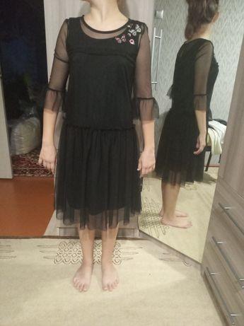 Красивое чёрное платье сеточка