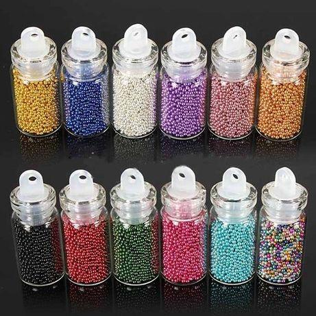 Комплект мини перлички за декориране на маникюр - 12 цвята в комплек
