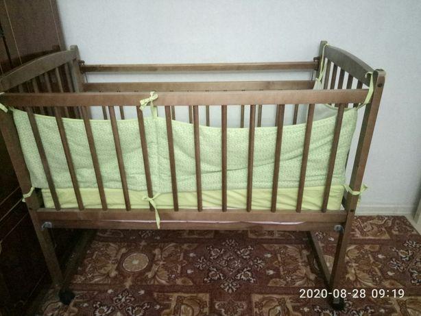 Кровать-манеж детский+матрац+бортик+подушка