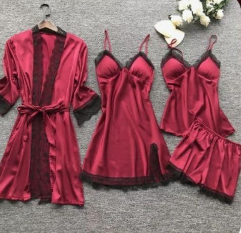Комплект, халат, комбинация, шорты, маечка