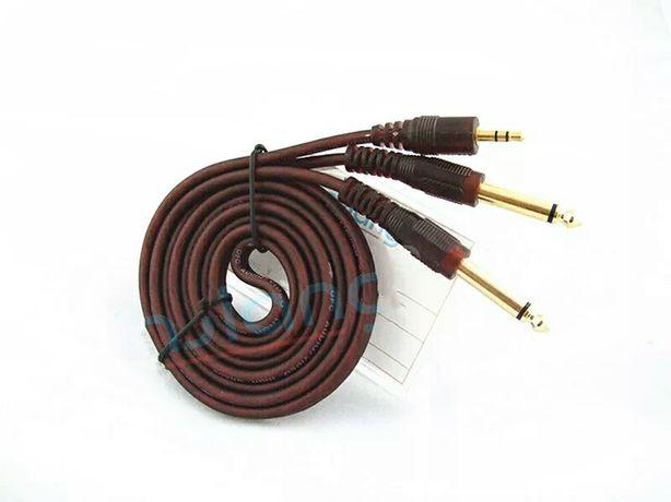 Аудио кабель aux 3.5 на 2 Jeck 6.3. Фирменный. Алматы