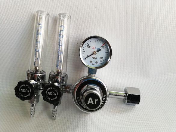Ред.вентил за CO2/Аргон (коргон,хелий) с ротаметър,flow meter.Двоен из