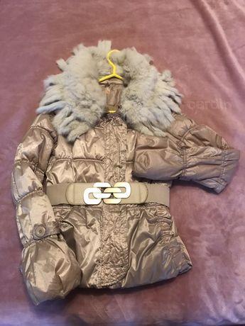 Дамско яке с яка от заешка естествена кожа-S размер