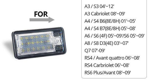 Lampi Led Numar AUDI A3 A4 B6 B7 A6 A8 Q7 A5 Fara eroare