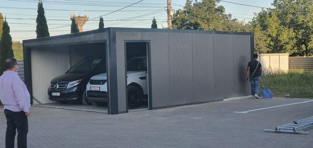 Garaj pentru doua mașini 5x7 inchis cu panouri sandwich