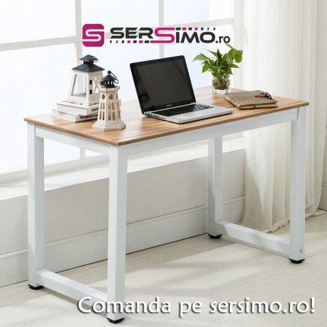 Masa din lemn cu picioare metalice pt living sau birou, culoare fag