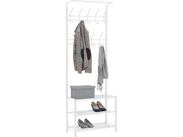 Бяла закачалка-185х32х67 см./бяла метална закачалка с три рафта