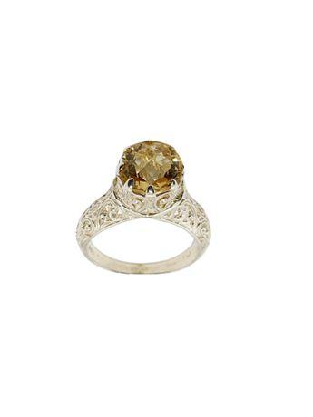 Inel imperial din argint cu citrin natural