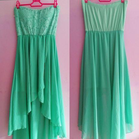 Ментово зелена дълга рокля