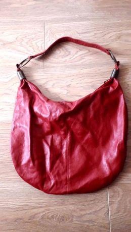 Червена  дамска кожена чанта