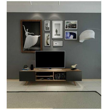 Comoda TV nuc/negru, pal 18 mm, 160 x 29.7 x 40.6 cm