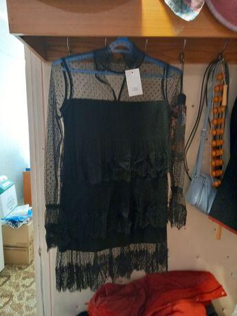 Платье нарядное чёрное гипюровое с сеточкой