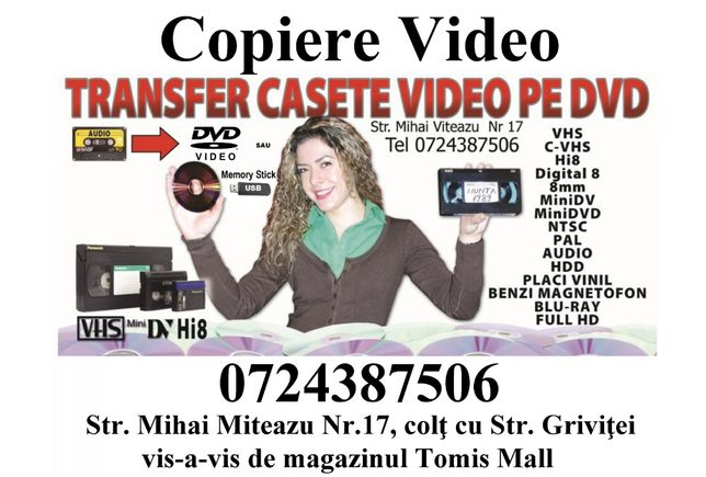 Transfer casete video pe DVD sau Stick in Constanta Copiere Video