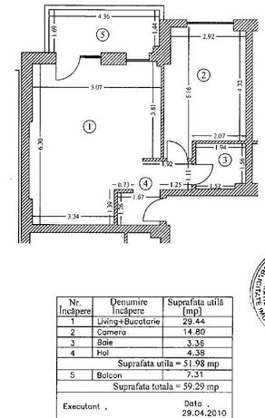 Apartament 2 camere Evocasa 51.98 mp+7.31 mp balcon