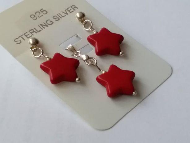 J7,set argint 925,nou/marcat,stelute coral natural+cadou cutie pliabil