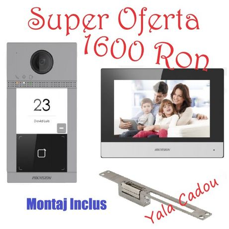 Kit videointerfon IP Hikvision DS-KIS604-S cu yala electromagnetica