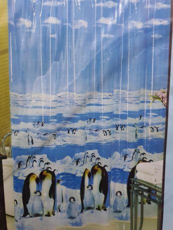 Шторка для ванной и душа, пингвины