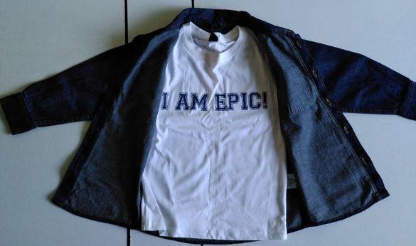 Детска дънкова риза с тениска