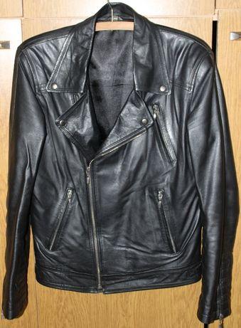 Модерно рокерско яке от естествена кожа, черно, турско производство